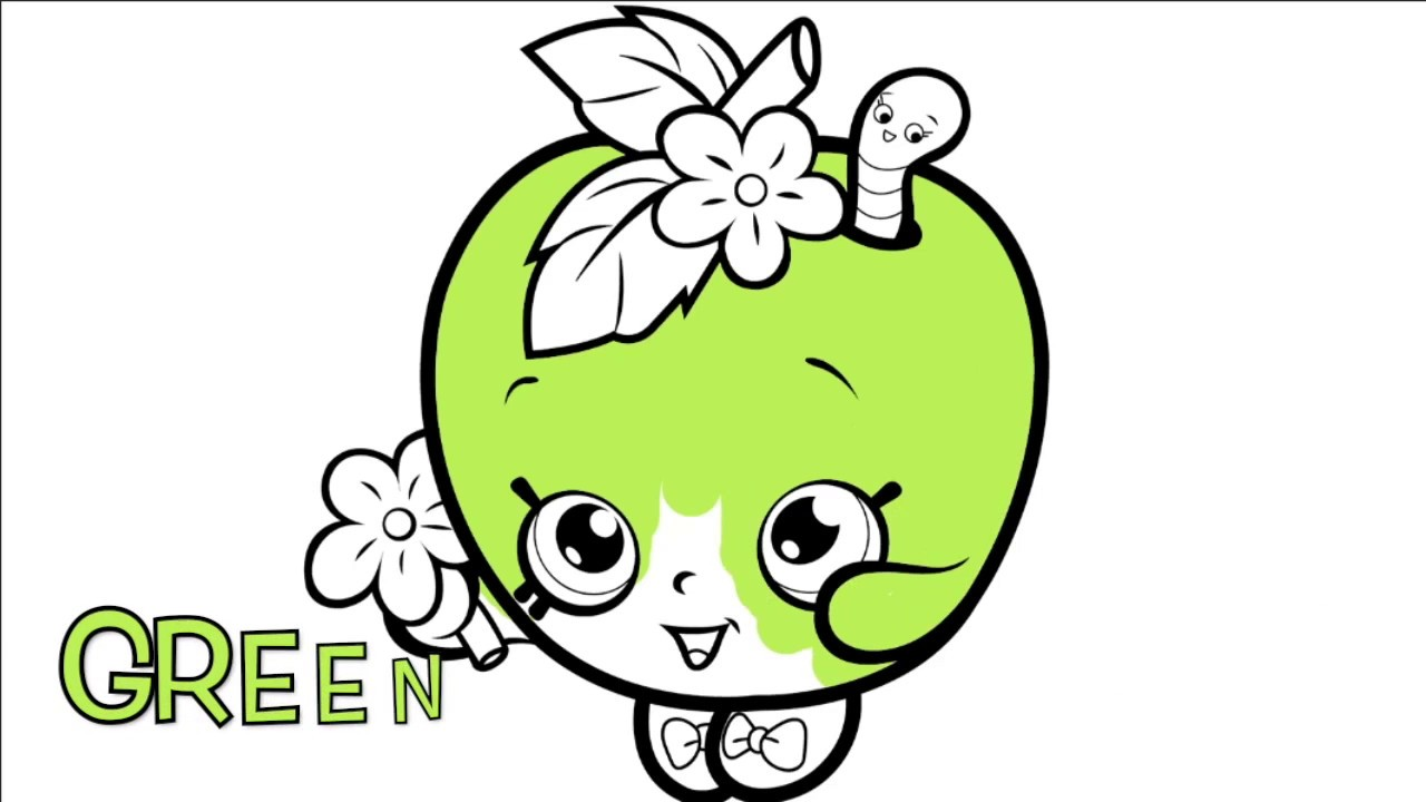 LEARN COLORS BY COLORING PAGES SHOPKINS APPLE BLOSSOM BOOK FOR KIDS