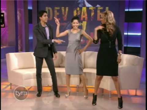 "Freida Pinto and Dev Patel Teach Tyra Banks Bollywood Dance From ""Slumdog Millionaire"""