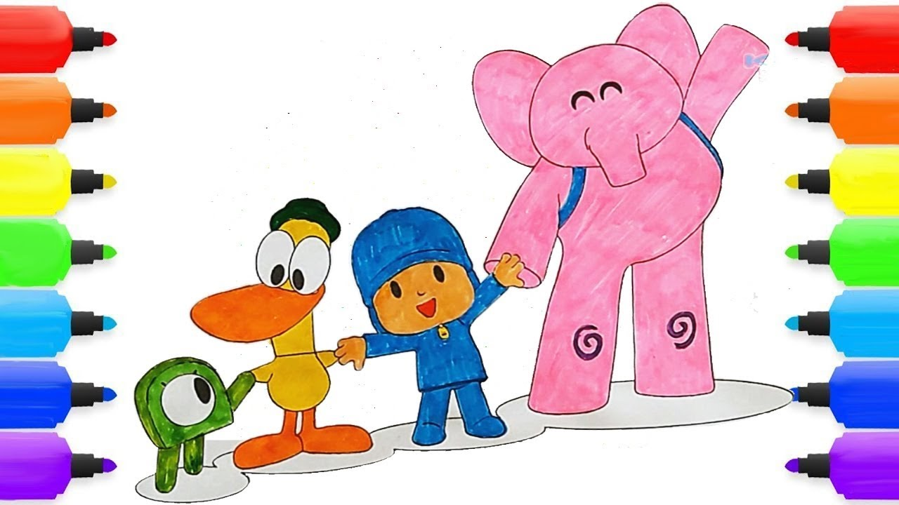 Pocoyo Coloring Page Pocoyo Pato Elly Alien In Space Coloring Book Pages Video For Kids Youtube