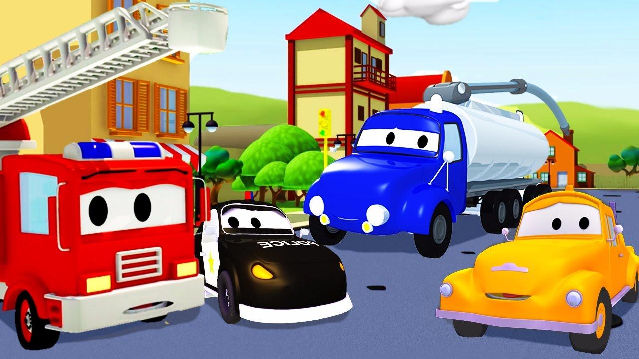 Авто Патруль: пожарная машина и полицейская машина, и Бензовоз в Автомобильный Город | Мультфильм