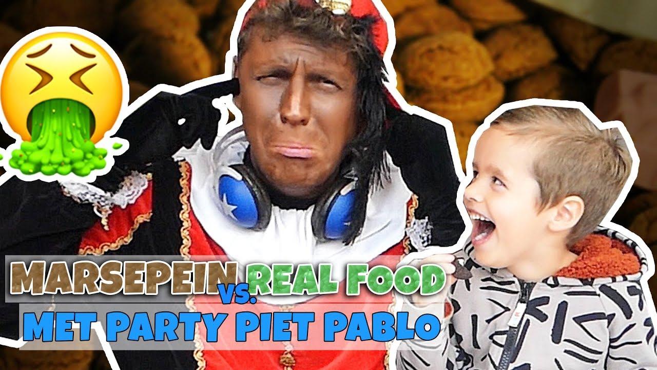 MARSEPEIN VS REAL FOOD MET PARTY PIET PABLO!! - Broer en Zus TV VLOG #240