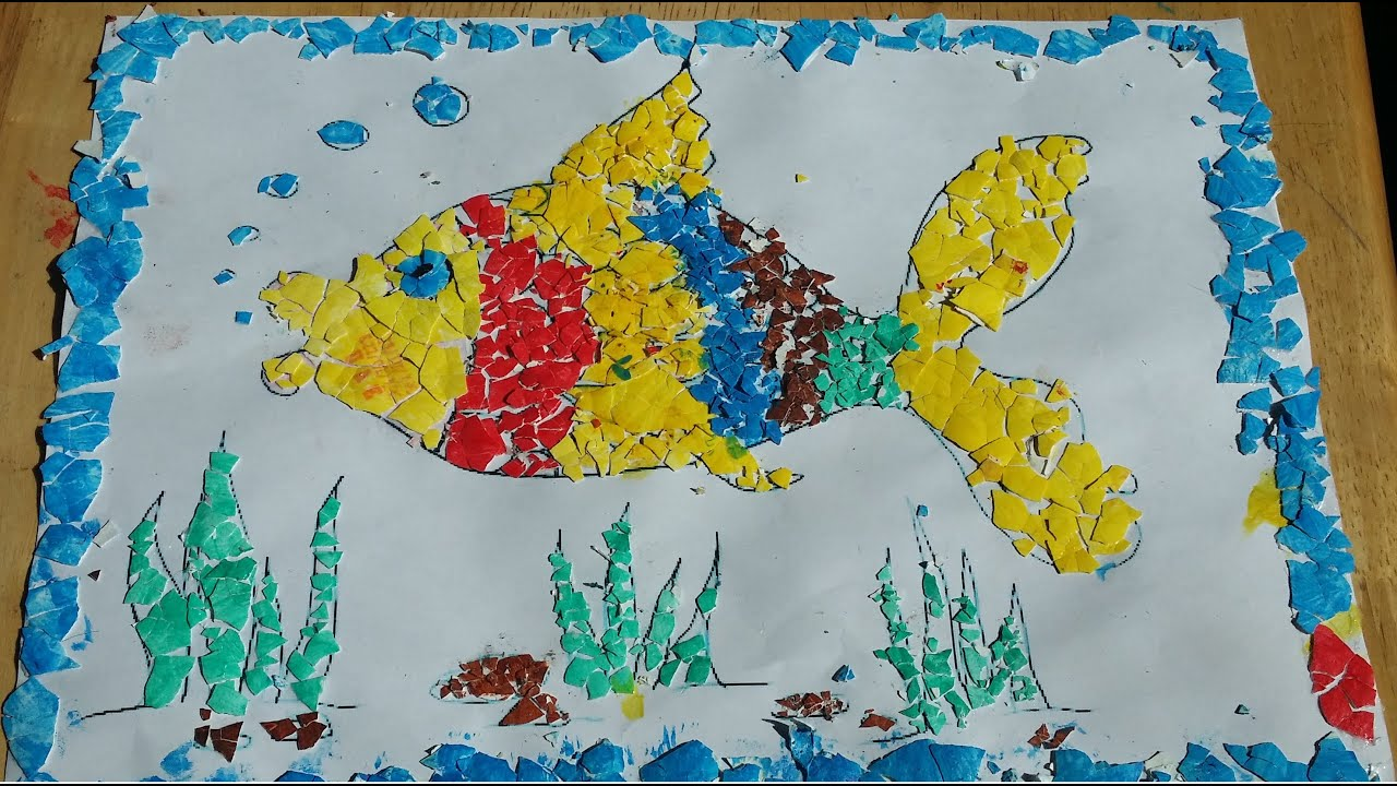 Diy egg shell mosaic painting youtube for Egg mosaic design