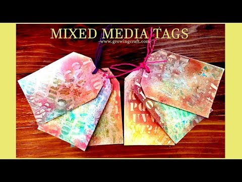 62. DIY tags with scrap paper♥handmade gifts and decor-Growing Craft - mixed media tags tutorial