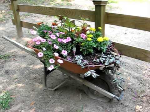 Wheelbarrow Planter May 23 2013 Youtube