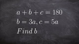 Algebra 1 -  Evaluate an equation by substitution a+b+c = 180