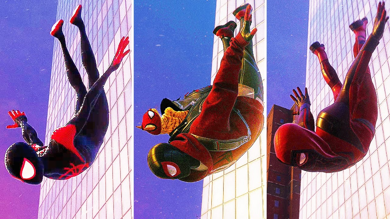 Spider-Man Miles Morales - Jumping From Highest Building w/ALL SUITS