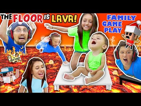 Thumbnail: FLOOR IS ACTUALLY LAVA CUZ WE AIN'T LAZY YOUTUBERS! Oh, BURN! FGTEEV Family Game Challenge Pool Day