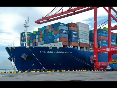 Largest container vessel in the World (ship) CMA CGM Marco Polo to Colombo - Sri Lanka - 25-09-2015