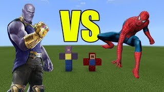 Thanos vs Spiderman | Minecraft PE Avengers Infinity War