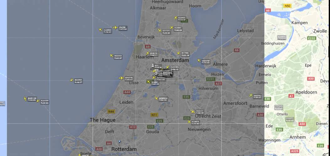 Live Air Traffic Control Map Amsterdam Eham Youtube