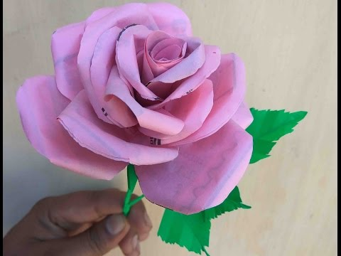 How to make rose with waste paper ||All Art and Craft