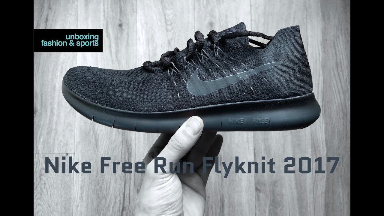 best service 15c7f 9be5f Nike Free Run Flyknit 2017  black anthracite    UNBOXING   ON FEET   running  shoes   2018   4K