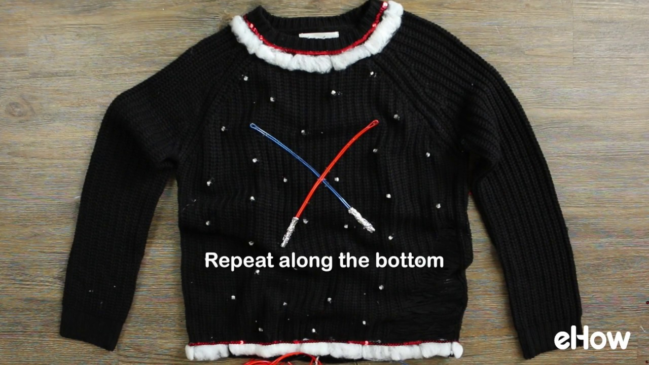 diy light up star wars christmas sweater no sew