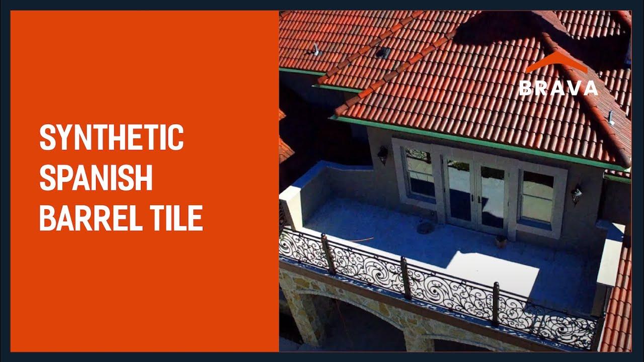 synthetic spanish barrel tile brava roof tile color aged mission