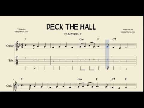 Deck the Halls Tabs in F Major Sheet Music for Guitar with chords