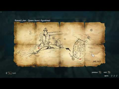 Assassin's Creed IV Black Flag Queen Anne's Figurehead Treasure map 240, 607