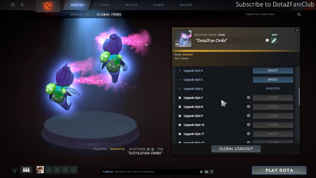 onibi the evolving courier upgrade style 6 dota 2 ti6 battle pass