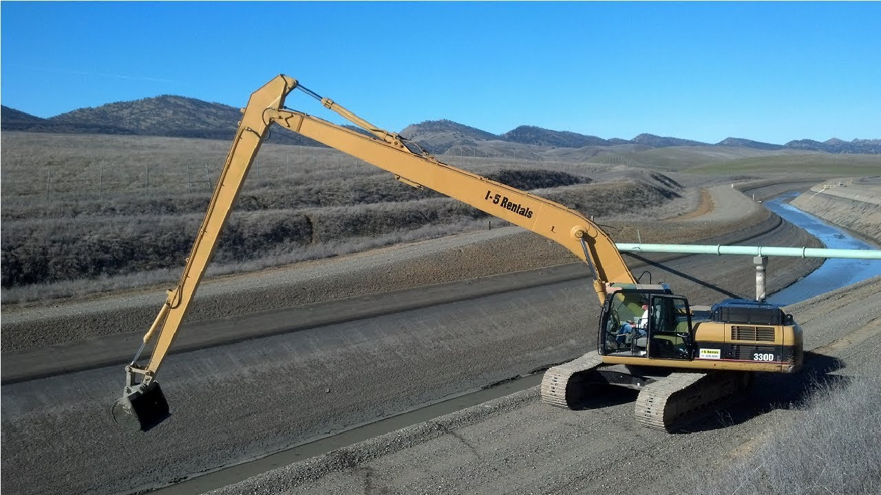 Long Longest Reach Excavator in Action, Heavy Equipment Machines Powerful Monster