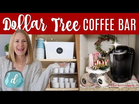 DOLLAR TREE KITCHEN ORGANIZATION  ☕️🎄 Coffee Station & Hot Cocoa Bar Christmas DIY