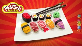 Sushi Set. How to make Sushi Rolls out of Play Doh. Educational Craft for Kids. Learn Colors