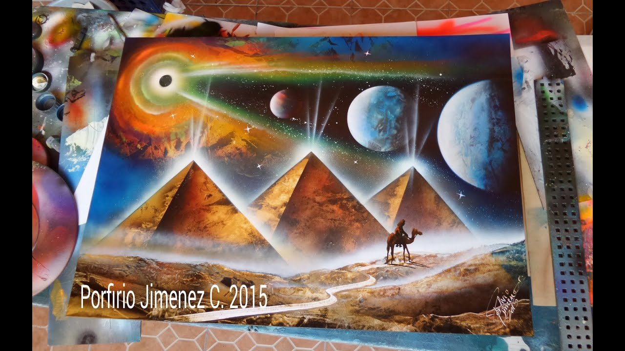 Spray Paint Art Pyramids Planets