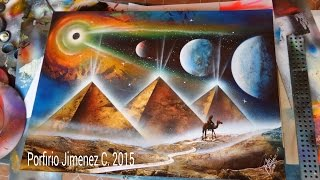 Pyramids spray paint art