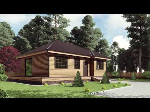 Проект каркасного одноэтажного дома 8*10.7 с открытой террасой и кладовой от Строй и Живи