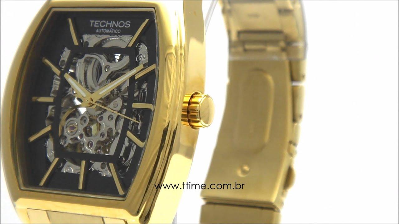 Relógio Technos Esqueleto Automático MW6808 4P - YouTube 58b9165520