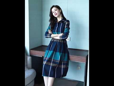 [해외직구] 2019년 가을 신상 체크무늬 셔츠 원피스 스커트 여성 트렌디 허리 날씬