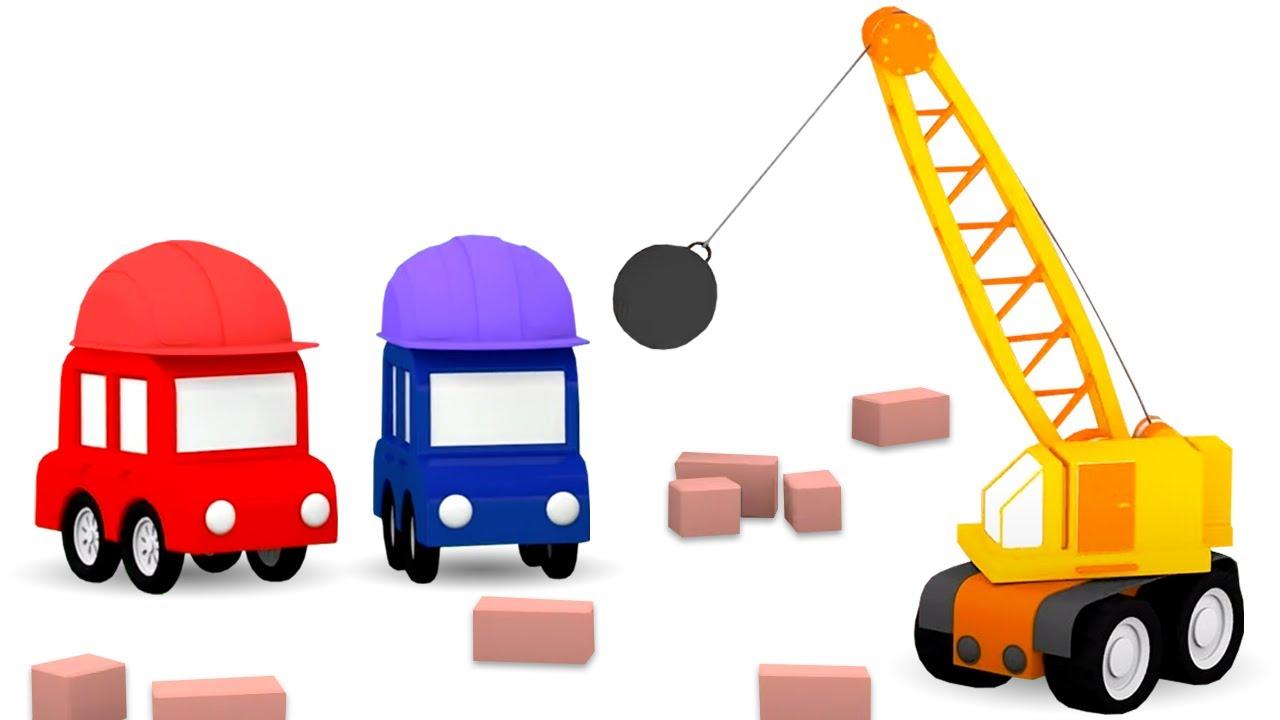 Um guindaste com uma bola pesada. Desenho animado dos 4 carros coloridos. Animação infantil.