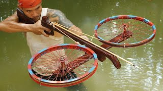 How To Make Doขble Wheels Wooden Crossbowfishing | Double Wheels Crossbowfishing VS Huge Fish