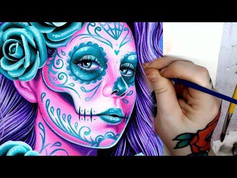 LONG VERSION   Gouache Painting   Sugar Skull Girl by Carissa Rose