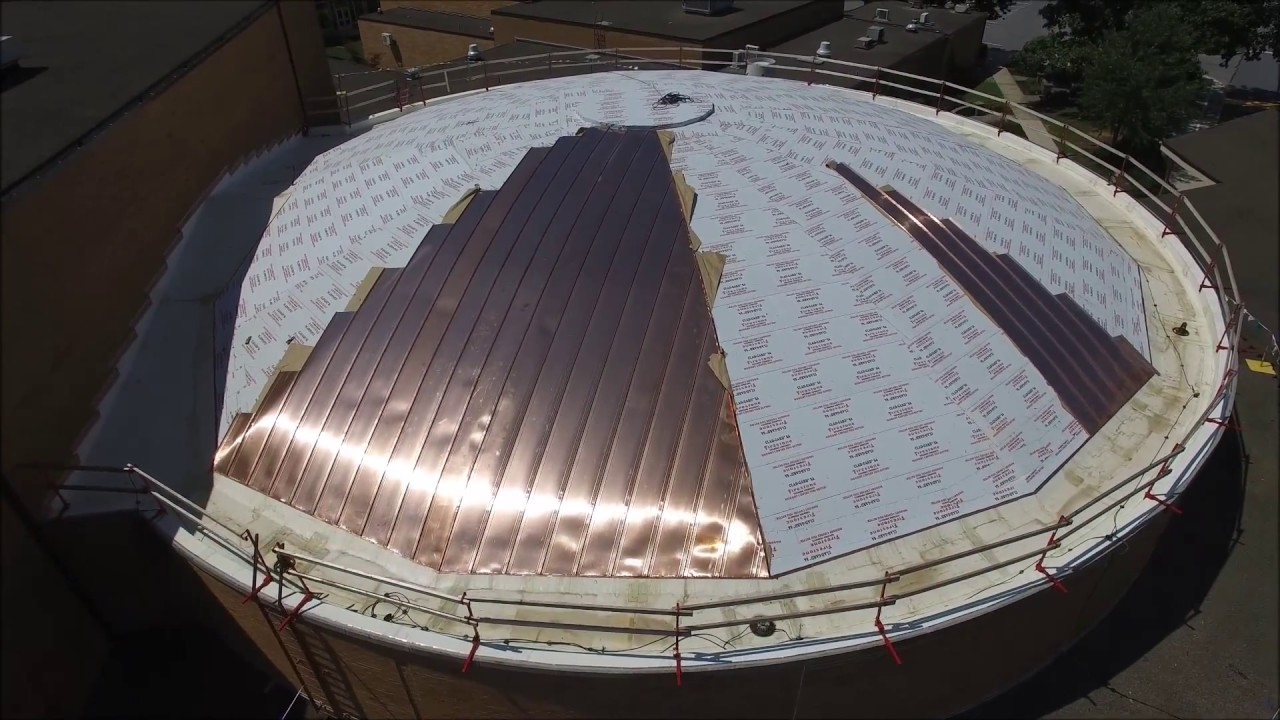 High School Auditorium Copper Dome Roof Replacement Youtube
