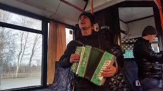 Гармонист в автобусе. Пермь. Песня