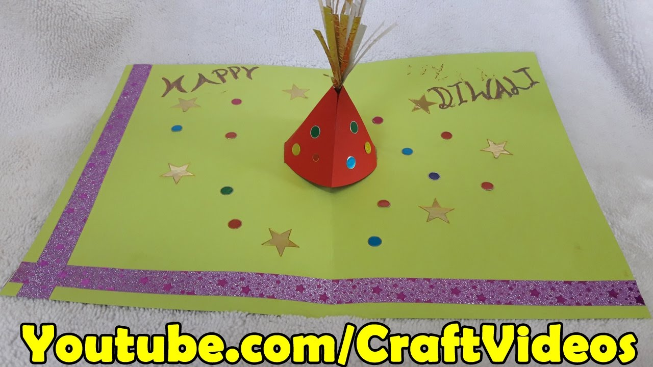 Card Making Ideas Youtube Part - 30: Diwali Pop Up Cards | Diwali Card Making Ideas | How To Make Diwali Pop Up  Greeting Card - YouTube