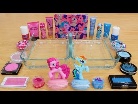 Pink Vs Blue - Mixing Makeup Eyeshadow Into Slime Special Series 162 Satisfying Slime Video