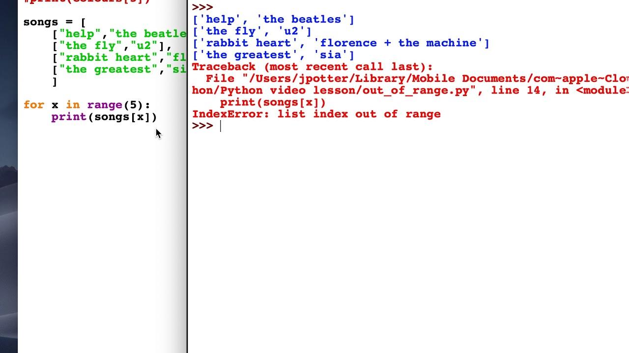 Fix for Python Error: List Index Out Of Range