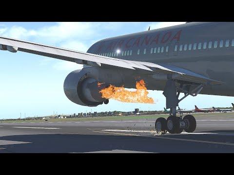 B767 Air Canada Engine Failure,Emergency Landing Madrid Barajas Airport - [HD]