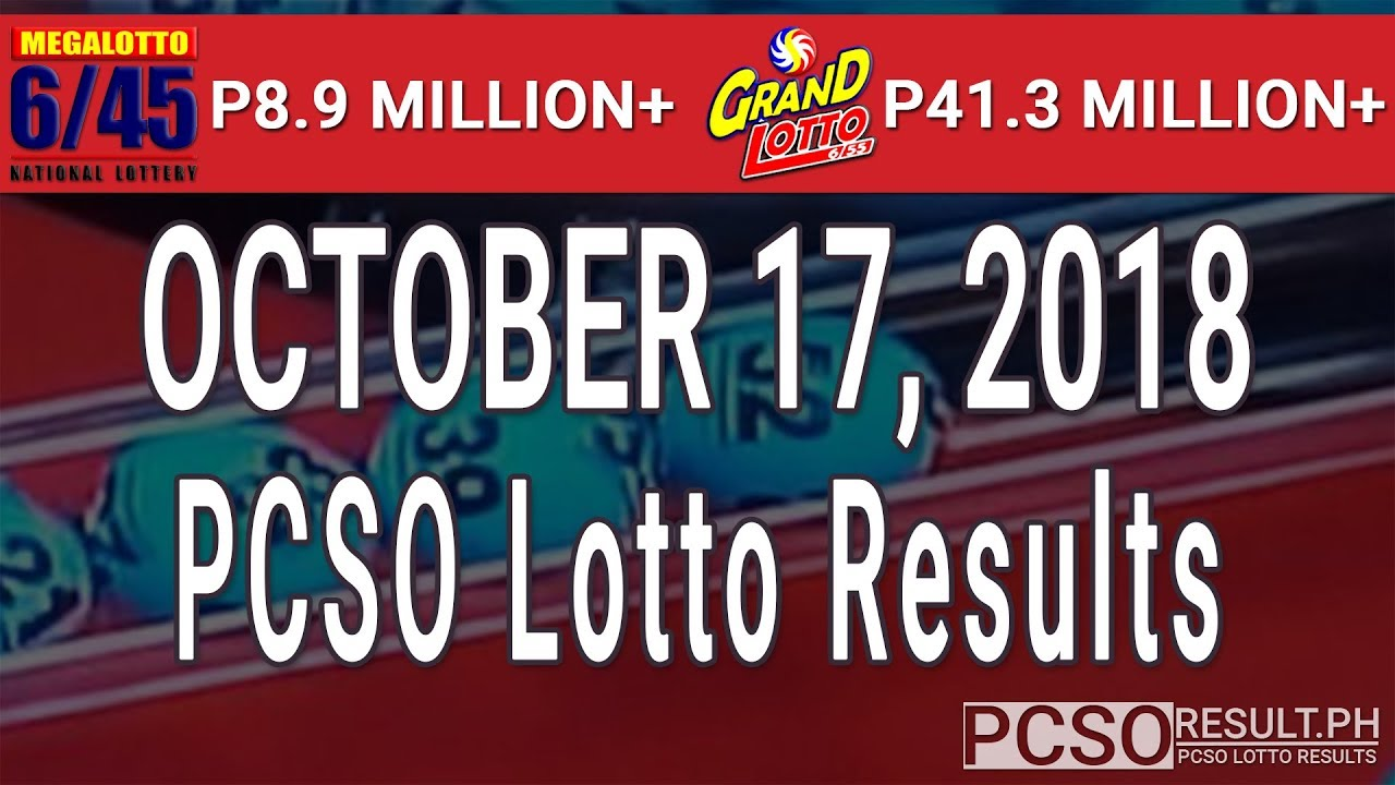 PCSO Lotto Results Today October 17, 2018 (6/55, 6/45, 4D, Swertres, STL & EZ2) - YouTube