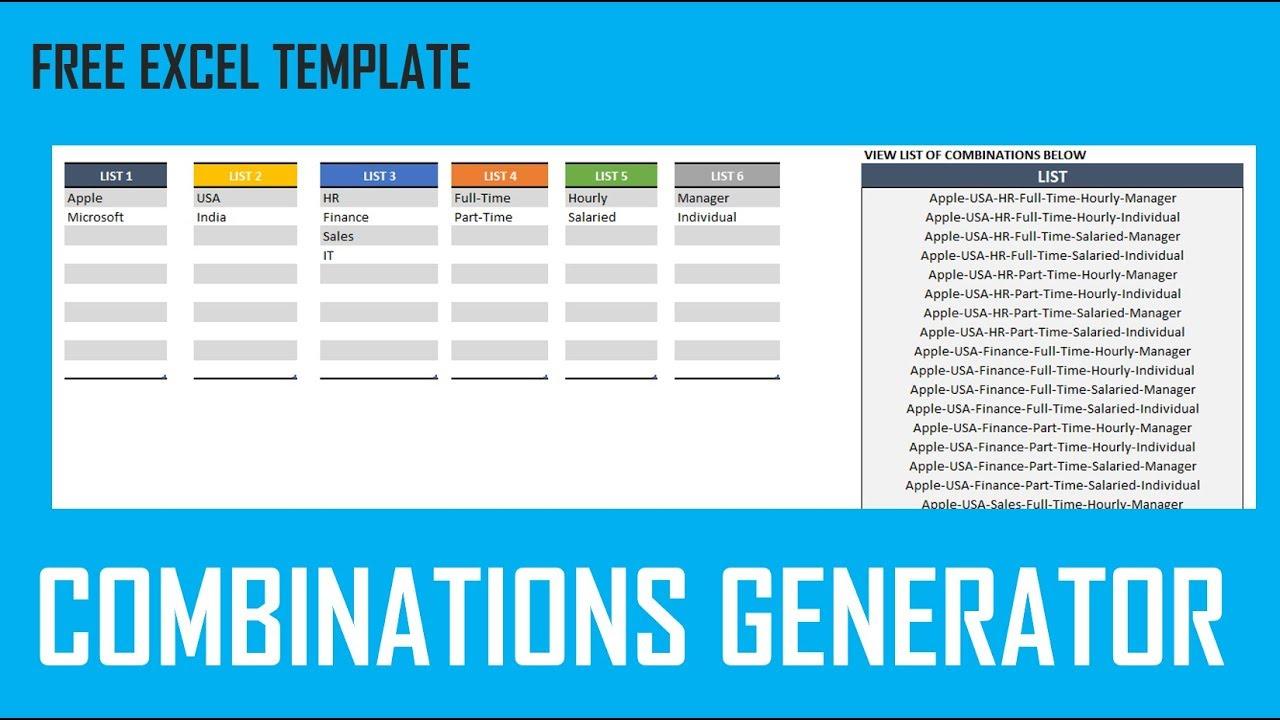 Combinations Generator   Free Excel Template