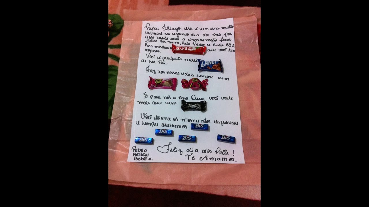Fabuloso Carta chocolate de dia dos pais - YouTube OP39