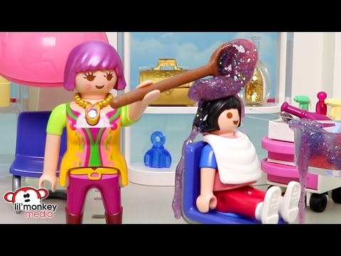 Playmobil Becky's Beauty Salon - Busy Day!  Ricardo Family Hair Cuts!