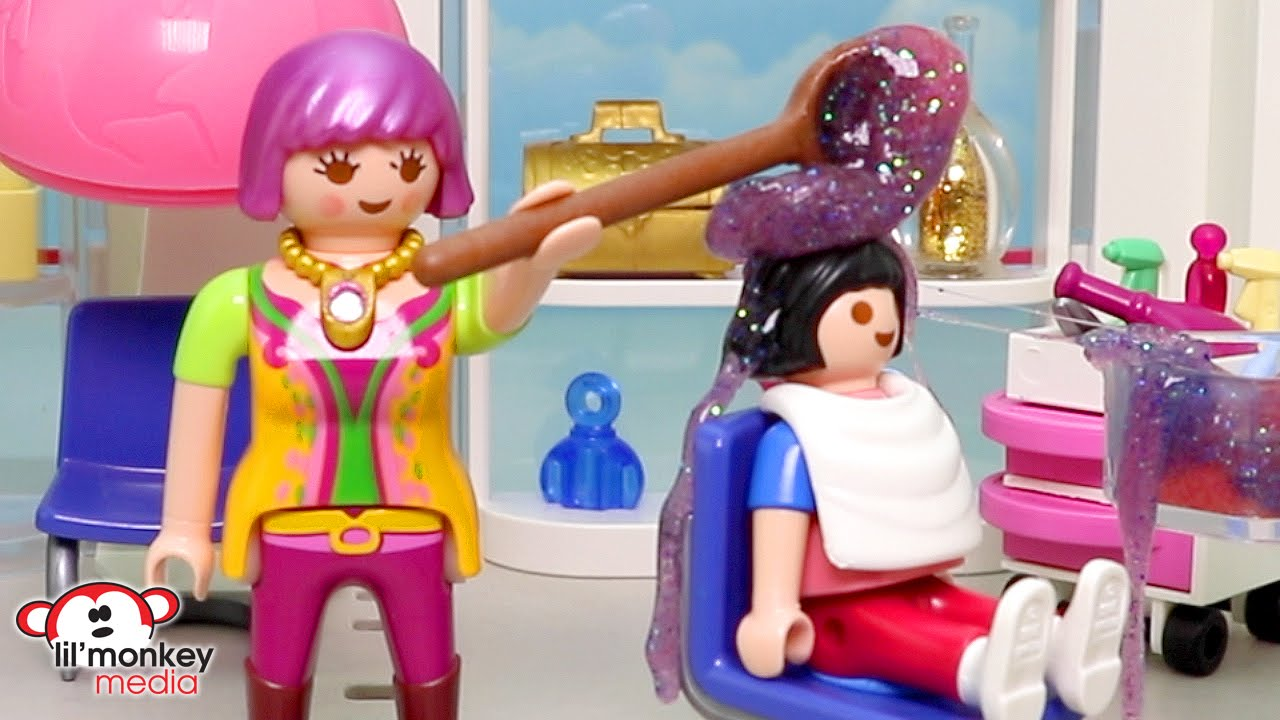 Playmobil becky 39 s beauty salon busy day ricardo family for Salon playmobil