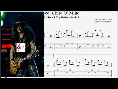 Sweet Child O' Mine - Standard Tuning Backing Track With Vocal, Guitar Tabs And Notation