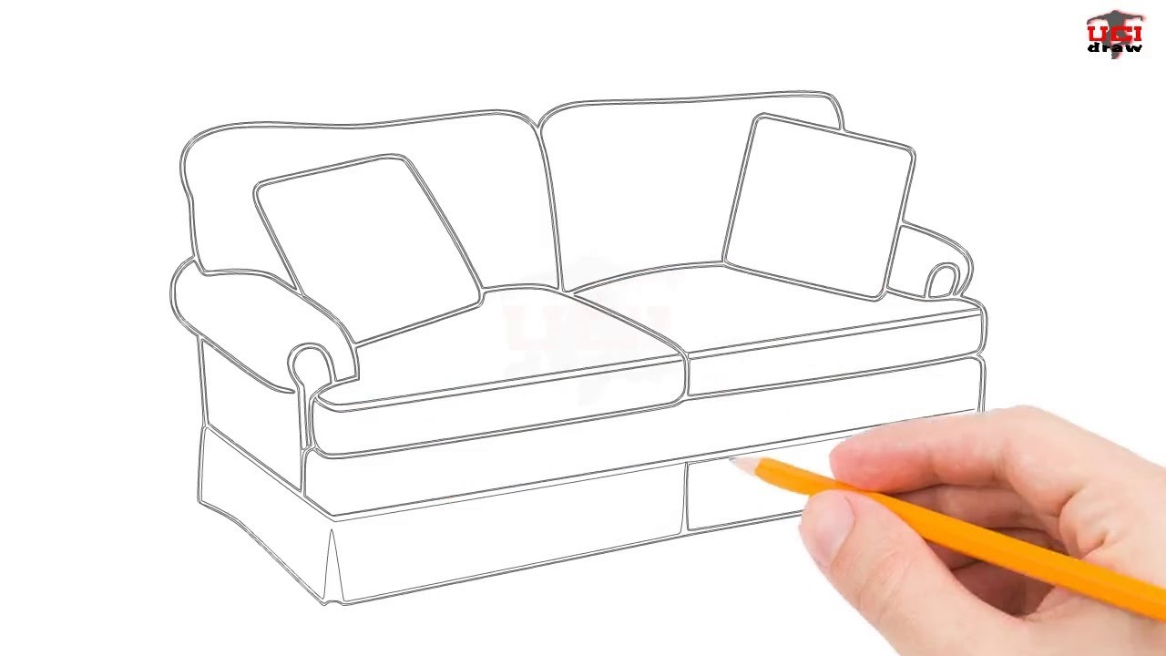 How To Draw A Couch Step By Easy For Beginners Kids Simple Couches Drawing Tutorial