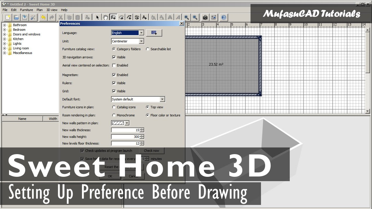 Sweet Home 3d Setting Up Before Drawing