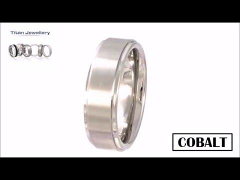 Mens 7mm Brushed Centre Cobalt Ridged Ring CCR30