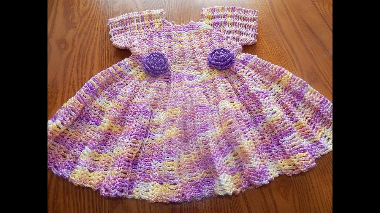 vestido crochet para ni a matizado parte 1 de 2 youtube. Black Bedroom Furniture Sets. Home Design Ideas