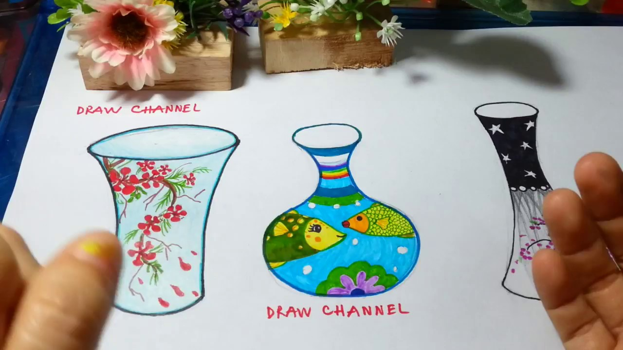Cách vẽ trang trí 3 lọ hoa/ How to draw a vase so cute and very easy