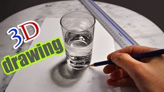 3D Drawing: A Realistic Glass of Water/ AMAZING illusion anamorphic